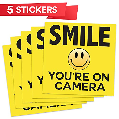 5 Pcs SMILE YOU/'RE ON CAMERA Yellow Business Security Sign CCTV Video