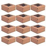 Amosfun 12 cajas para cupcakes de papel kraft con 4 rejillas, contenedores para cupcakes, para uso alimentario, pastelería, galletas, magdalenas, postres (kraft)