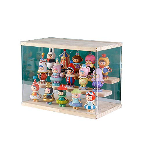 Vitrina de acrílico para figuras de acción con 3 pasos,vitrina de muñecas con puerta para figuras coleccionables,Funko pop,figuras pop,minifigura,Pop Mart,autoensamblaje(Madera,32x18x27cm)