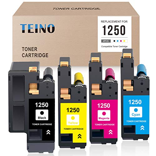 TEINO Compatible Toner Cartridge Replacement for DELL 1250 810WH XMX5D C5GC3 WM2JC use with DELL C1760nw C1765nfw 1250C 1355cnw 1355cn c1765nf 1350cnw (Black, Cyan, Magenta, Yellow, 4-Pack)