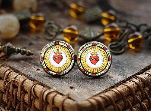 Sacred Heart Stud Earrings, Christian Earrings, Religious Earrings, Catholic Earrings, Christian Gift