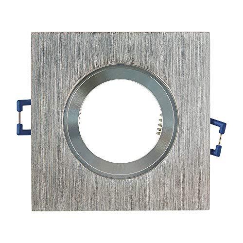Einbaustrahler Rahmen Edelstahl-gebürstet eckig flach IP-44 für Bad und Außen-Bereich – Einbaurahmen für GU10 MR16 Leuchtmittel – Ø60-70mm Bohrloch Badezimmer Einbau-Strahler Einbau-Spot Einbauleuchte