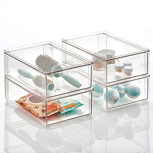 mDesign Plastic Stackable Bathroom Storage Box with Pull-Out Drawer - Container for Organizing Hand Soaps, Body Wash, Shampoos, Lotion, Conditioners, Hand Towels, Hair Accessories - 4 Pack - Clear