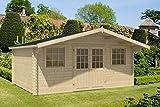 Alpholz Gartenhaus Caroline-44 aus Massiv-Holz   Gerätehaus mit 44 mm Wandstärke   Garten Holzhaus inklusive Montagematerial   Geräteschuppen Größe: 508 x 388 cm   Satteldach