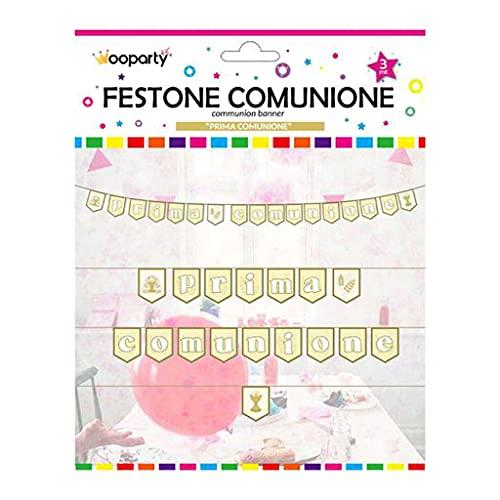 WOOPARTY Festone Prima Comunione 17 Bandierine Addobbi Decorazioni Festa Striscione 3MT