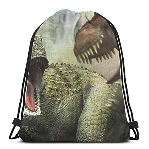 LREFON Gimnasio Bolsas con cordón Mochila Explore Dinosaurs Sackpack Tote para almacenamiento de viaje Organizador de zapatos Hombro escolar Yoga Adultos