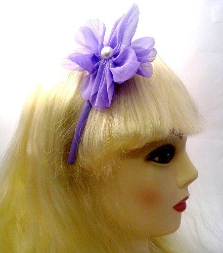 aliceband – Fleur en tissu en mousseline de soie et perles sur tissu étroit Alice bande