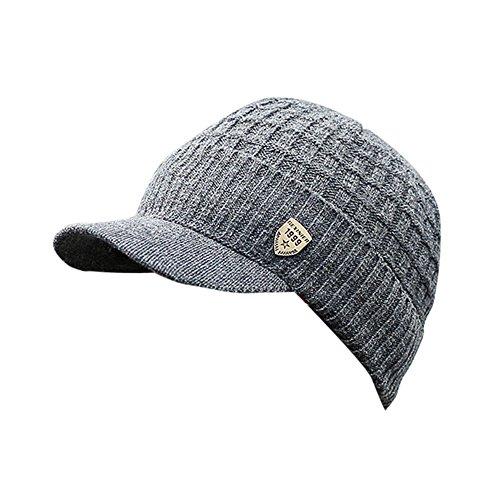 iLXHD Men Warm Baggy Weave Crochet Winter Wool Knit Ski Beanie Caps Hat Dark Gray