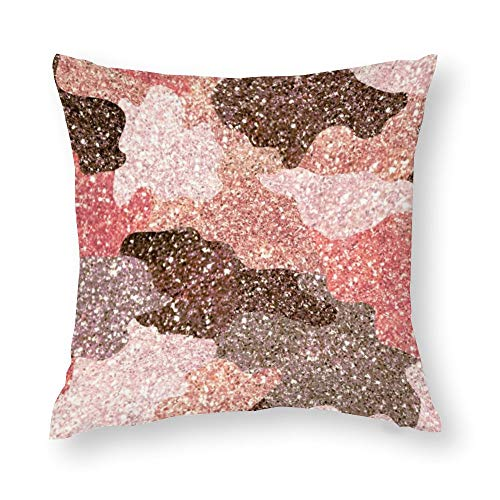 Camouflage Rose Gold Faux Glitter Camo Glam Cotton Throw Pillow Covers Case Cushion Pillowcase with Hidden Zipper Closure for Sofa Bench Bed Home Decor 16'x16'