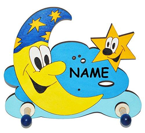 Garderobenhaken - Mond mit Stern und Wolke incl. Name - aus Holz - für Kinder mit 2 Haken - Kinderzimmer / Garderobenleiste Kindergarderobe Garderobe Kleiderh..