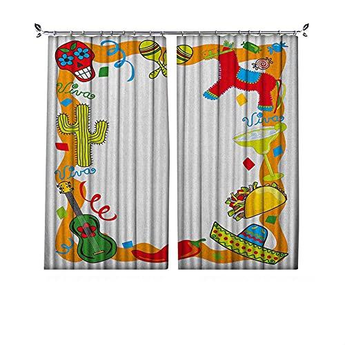Cortinas plisadas de aislamiento térmico Fiesta plisadas, estilo de dibujo de dibujos animados, piña mexicana, taco, chile, pimienta, azúcar, calavera, para travesaños y rieles, multicolor