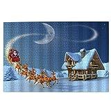 DKISEE Rompecabezas de Navidad, Santa Reno nevado casa de madera vacaciones de invierno 500 piezas rompecabezas de madera, regalo creativo, clásico juego educativo juguetes para adultos y familias