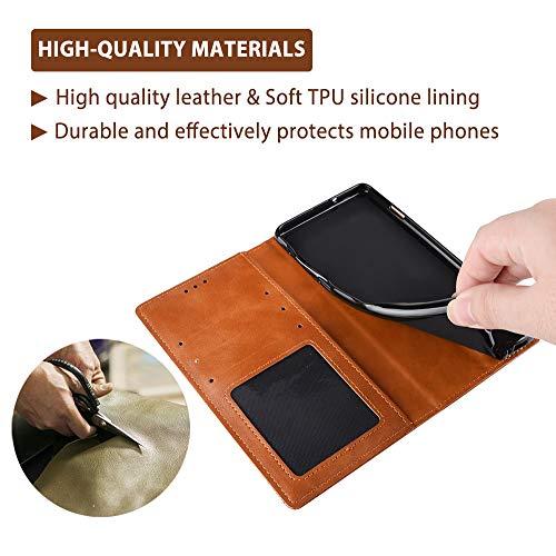 TANYO Leder Folio Hülle für Huawei P smart 2021, Premium Flip Wallet Tasche mit Kartensteckplätzen, PU/TPU Lederhülle Handyhülle Schutzhülle - Braun