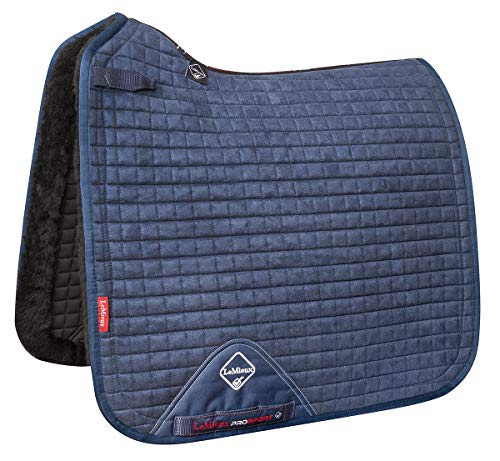 LeMieux Merino+ Sensitive Dressage Square Lammfell Dressur Schabracke, Marineblau/Schwarz, L