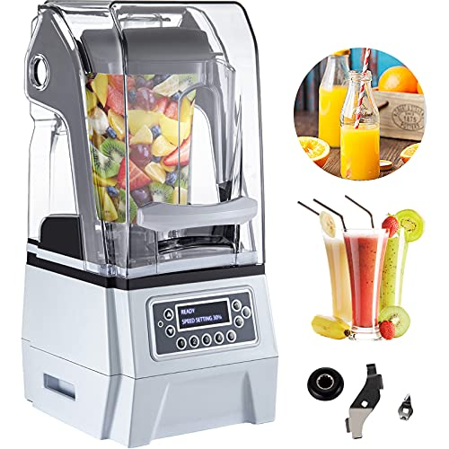VEVOR 110V Commercial Smoothie Blenders, 1.5L/50.7oz 1500W Countertop Silent Blender w/ 3-Side Silica Gel Sound Shield, Quiet Blender Self-Cleaning Includes Multifunctional 2-in-1 Wet Dry Blades White