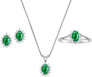 Genuine Natural Emerald & Diamond Pendant, Earrings & Ring Set in Sterling Silver .925 with Chain and Gift Box