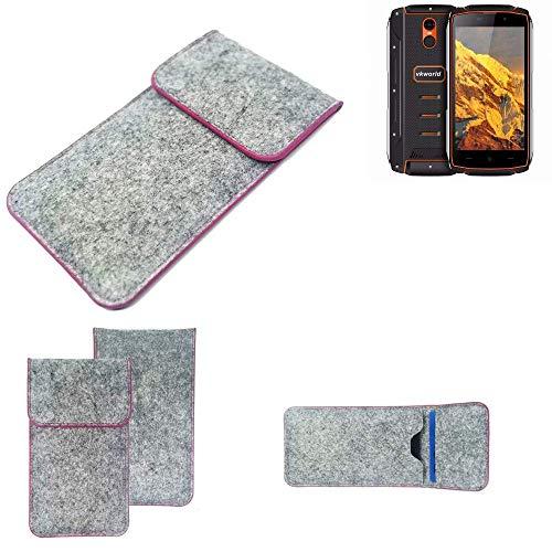 K-S-Trade® Handy Schutz Hülle Für Energizer P20 Schutzhülle Handyhülle Filztasche Pouch Tasche Case Sleeve Filzhülle Hellgrau Pinker Rand