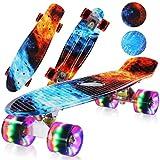 Skateboard Complet 56cm, Mini Cruiser Skate Roulements ABEC-7, Planche à Roulette avec Roues LED Clignotantes, pour Enfant / Adulte / Ado / Fille / Garçon / Débutants