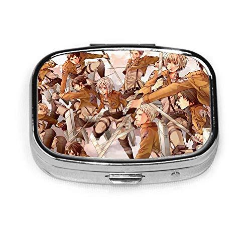 Shingeki no Kyojin Mikasa Ackerman Eren Jeager Fashion Square Pill Box Vitamin Medicine Tablet Holder Wallet Organizer Case