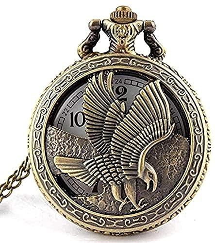 WYDSFWL Halskette Taschenuhr Vintage Schmuck antike Bronze Flügel des Adlers Shiying Huai Tischtasche Uhr Halskette Anhänger Geschenk für Männer und Frauen Geschenk