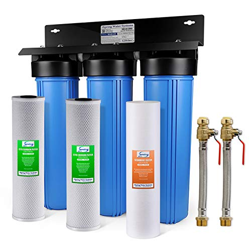 "iSpring WGB32B+AHPF12MNPT16X2 3-Stage Whole House Water Filtration System w/ 20-Inch Big Blue Sediment and Carbon Block Filters and 3/4"" Push-fit Stainless Steel Hose Connectors"