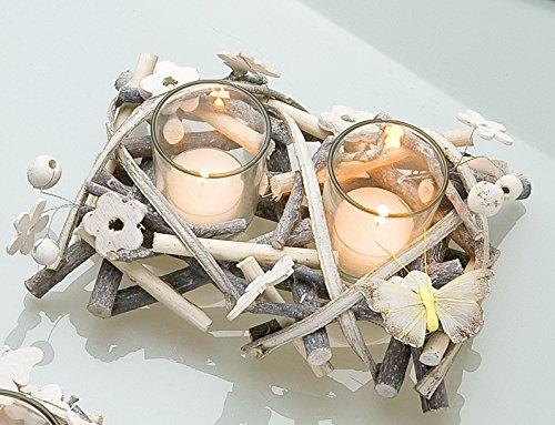 GILDE Glas- Windlicht Kerzenhalter Dekokranz Tischdeko Rattankranz, beige, weiß, gelb, 14x20x8 cm