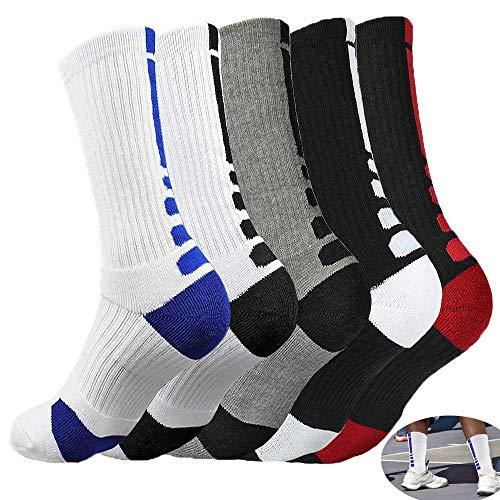 5 Paar Basketballsocken, MENMA 5 Packungen Dri-Fit-Kissen Basketballsocken, Athletic Crew Socken für Jugendliche Jungen Mädchen Männer Frauen - mehrfarbig - Allgemeine Größe