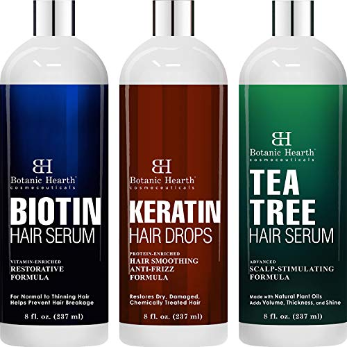 Botanic Hearth Biotin Hair Serum, KeratinHair Serum and Tea Tree Hair Serum Bundle - for All Hair Types, Men and Women