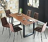 SAM 7 TLG. Essgruppe Ida, Baumkantentisch 180x90 cm, Akazie-Holz cognacfarben, Gestell schwarz, 6X Schwingstuhl ULF braun