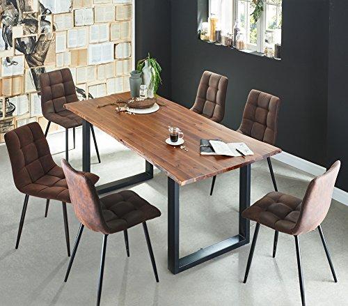 SAM 7 TLG. Essgruppe Ida, Baumkantentisch 160x85 cm, Akazie-Holz cognacfarben, Gestell schwarz, 6X Schalenstuhl ULF braun