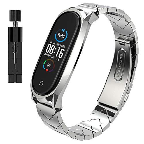 AHANGA Correa para Xiaomi Mi Band 5, Pulseras MiBand 5 Pulsera Metal Correas con Enlaces Herramienta de Eliminación Reloj Wristband Recambio Bandas Acero Inoxidable Reemplazo Strap para Hombres Mujer
