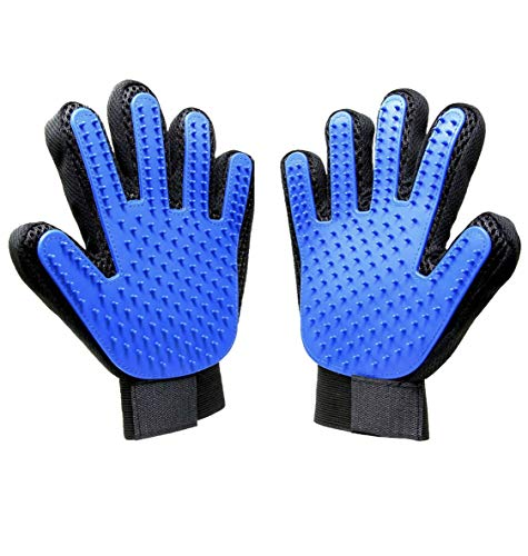 Hundesalon-Handschuh, [verbesserte Version] Sanfter Haustier-Enthäutungshandschuh, 2-in-1-Massagegerät mit verbessertem Finger-Design, Für Hunde und Katzen