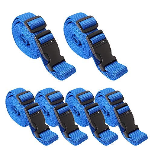 XSTRAP 6-Piece Luggage Sets Straps with Varying Lengths, 4PK 72'' and 2PK 95'' Straps Accomadate Suitcases from 20 to 32 Inch, Blue