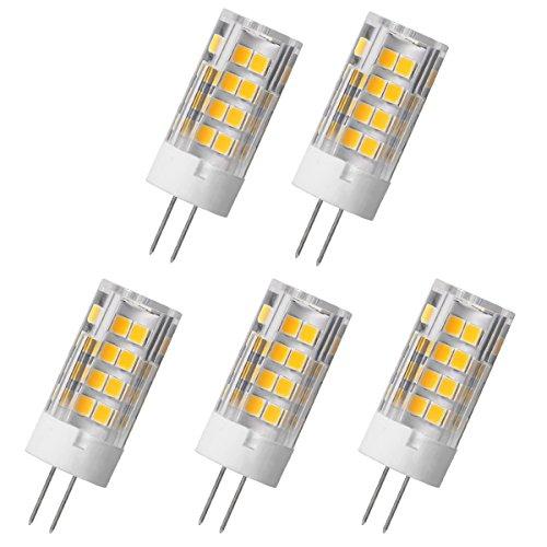 Aoxdi 5X LED Licht G4 5W LED Lampe, Warmweiß, 51 SMD 2835 Stecklampe Sparlampe Leuchtmittel, Energiespar Licht sehr gut für die Wärmeabgabe, AC220-240V