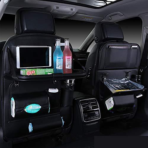 Auto Rückenlehnenschutz Mit Klapptisch, Faltbar Auto Mülleimer mit Große Taschen und iPad-/Tablet-Fach, Auto Rücksitz Organizer für Kinder, Kick-Matten-Schutz in universeller Passform (Leder-Schwarz)