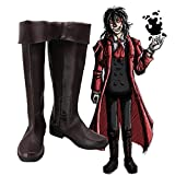 WSJDE Anime Hellsing Alucard Cosplay Party Shoes Dark Brown Boots Customized Size
