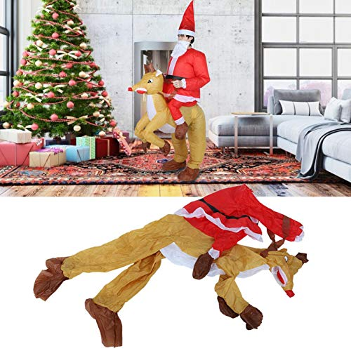 01 02 015 Santa Claus Design Cartoon Suit, Inflatable Costume, for Cosplay Halloween Festival Adults Christmas Party(Christmas Riding Deer X121)