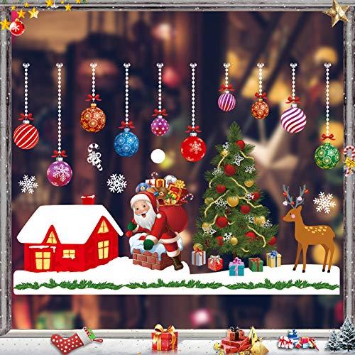 Sunshine smile Fensterbilder Weihnachten,PVC Fensterdeko Selbstklebend, Schneeflocke Fensteraufkleber,Weihnachts-Fenster Dekoration,Aufklebe Weihnachtsmann,Fensterbilder Winter,Schneeflocken Fenster