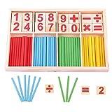 INTVN Caja de Matemáticas con Tarjetas de Madera con Números y Contadores de Varillas, Juguetes Educativos Montessori, Barras de Inteligencia Matemática