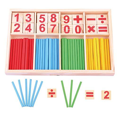 INTVN Set di Giocattoli in Legno, Giochi Educativi Montessori, Barra dell'Intelligenza Matematica, Mattoncini, Carte di Legno con Numeri e Bastoncini