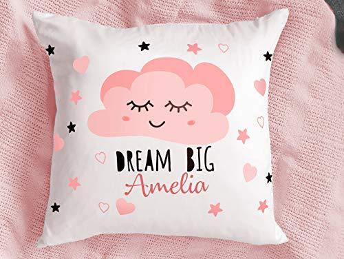 Muttertags-Kissenbezug 66 x 66 cm, personalisierbarer Kissenbezug, Dream Big Kinderzimmer-Kissenbezug, Mädchen-Geburtstagsgeschenk, niedlicher personalisierter Wolken-Kissenbezug für Sofa, Bett, Auto