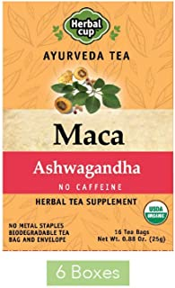 HERBAL CUP MACA ASHWAGANDHA TEA - 6 Pack, 96 Tea Bags Total ORGANIC