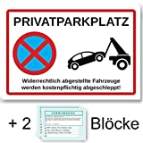 Hochwertiges Privat-Parkplatz Schild, parken verboten |Stabiles Parkverbot-Schild 200x300mm auf 3mm Hartschaumplatte, Halteverbot | Hinweisschild
