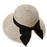 Floppy Summer Sun Beach Straw Hats Accessories for Women Wide Brim UPF 50 Foldable 55-56cm Tan
