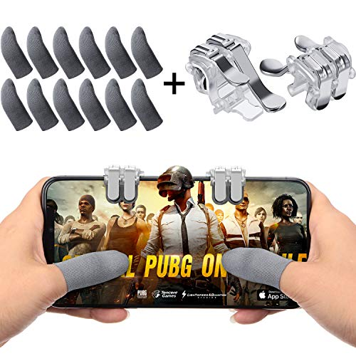 14 Pieces Mobile Game Controller Finger Sleeve Set Includes 12 Gaming Thumb Sleeve with 2 Mobile L1R1 Game Triggers for Mobile Phone Games