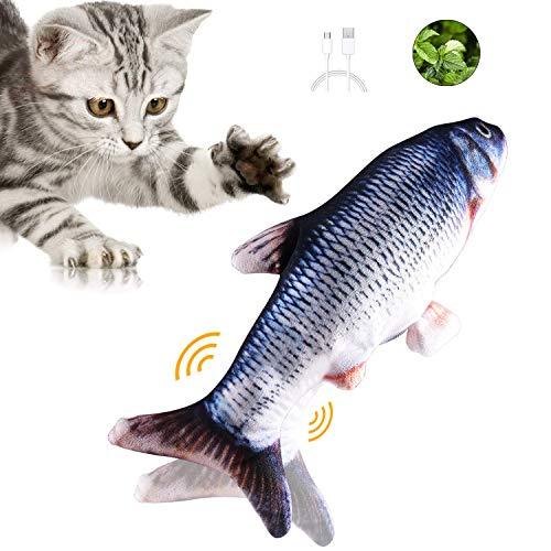 Geternal Simulation Elektrischer Puppenfisch Realistischer Plüsch Wagging Fisch Katze Interaktives Spielzeug Katzenminze Spielzeug USB-Aufladung Haustiere Kauen Bisszubehör
