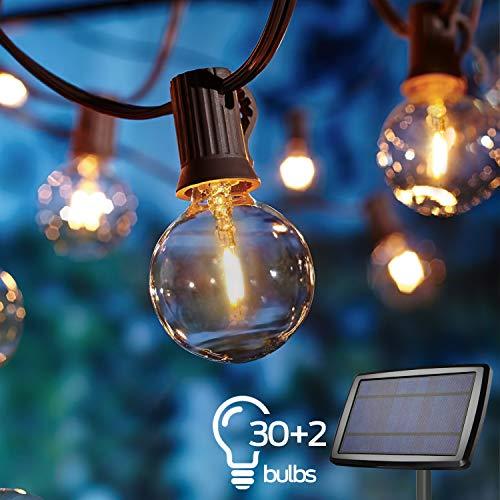 Solar Lichterkette Außen,Lichterkette Gluehbirne Aussen,OxyLED G40 10.35m Lichterkette Garten, Wasserdicht 30+2 LED Birnen E12 Warmweiß 2500K Beleuchtung für Innen und Außen Deko Garten Hochzeit