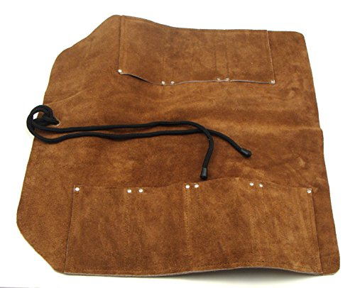"""7 Pocket Suede Leather Tool Roll (18"""" x 18"""") for Larger Wood Chisels, Kitchen Knives, Woodcarving Tools, Wrenches, Screwdrivers"""