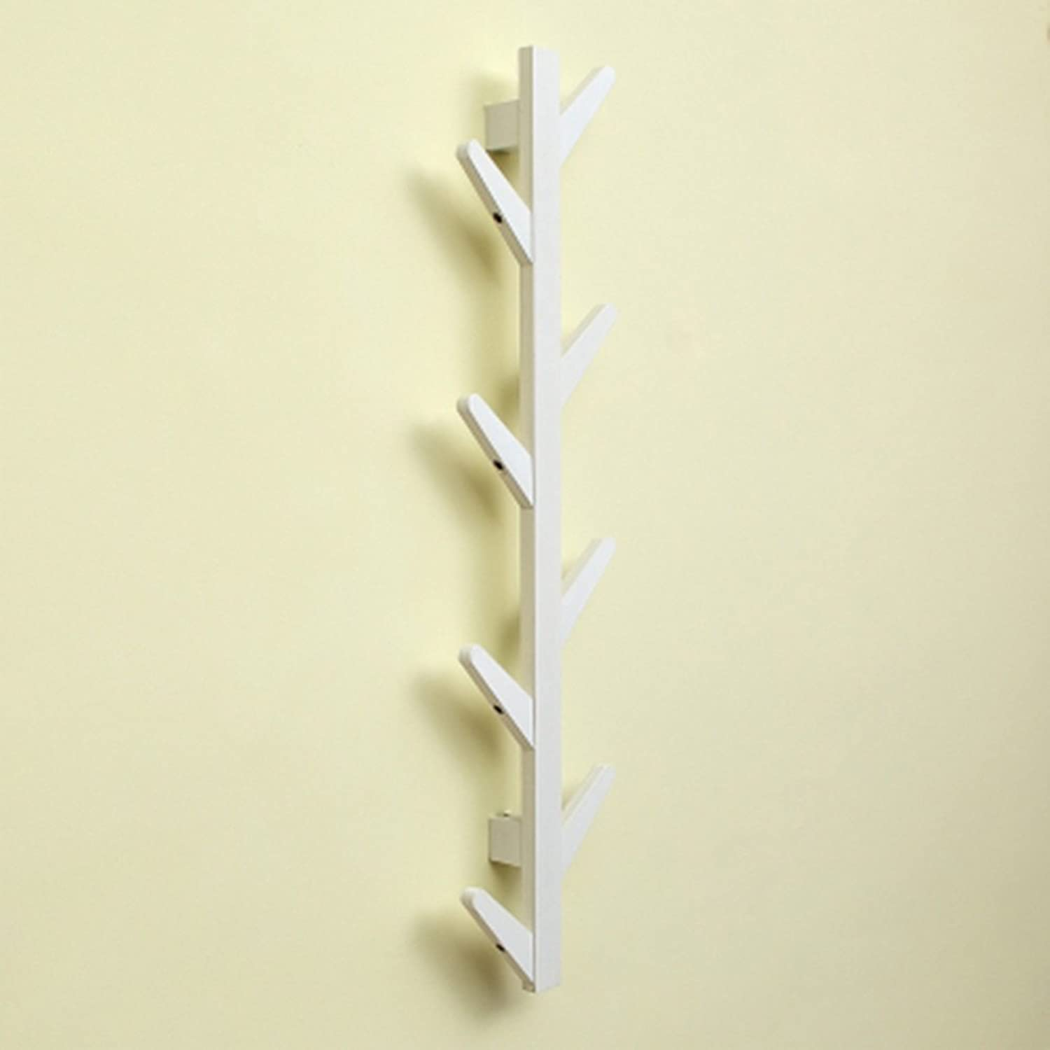JIANFEI Wall Mounted Coat Rack Tree Shape Hook Up Rounded Corners Anti-Collision Bamboo, 3 colors (color   White color, Size   22  7  98cm)