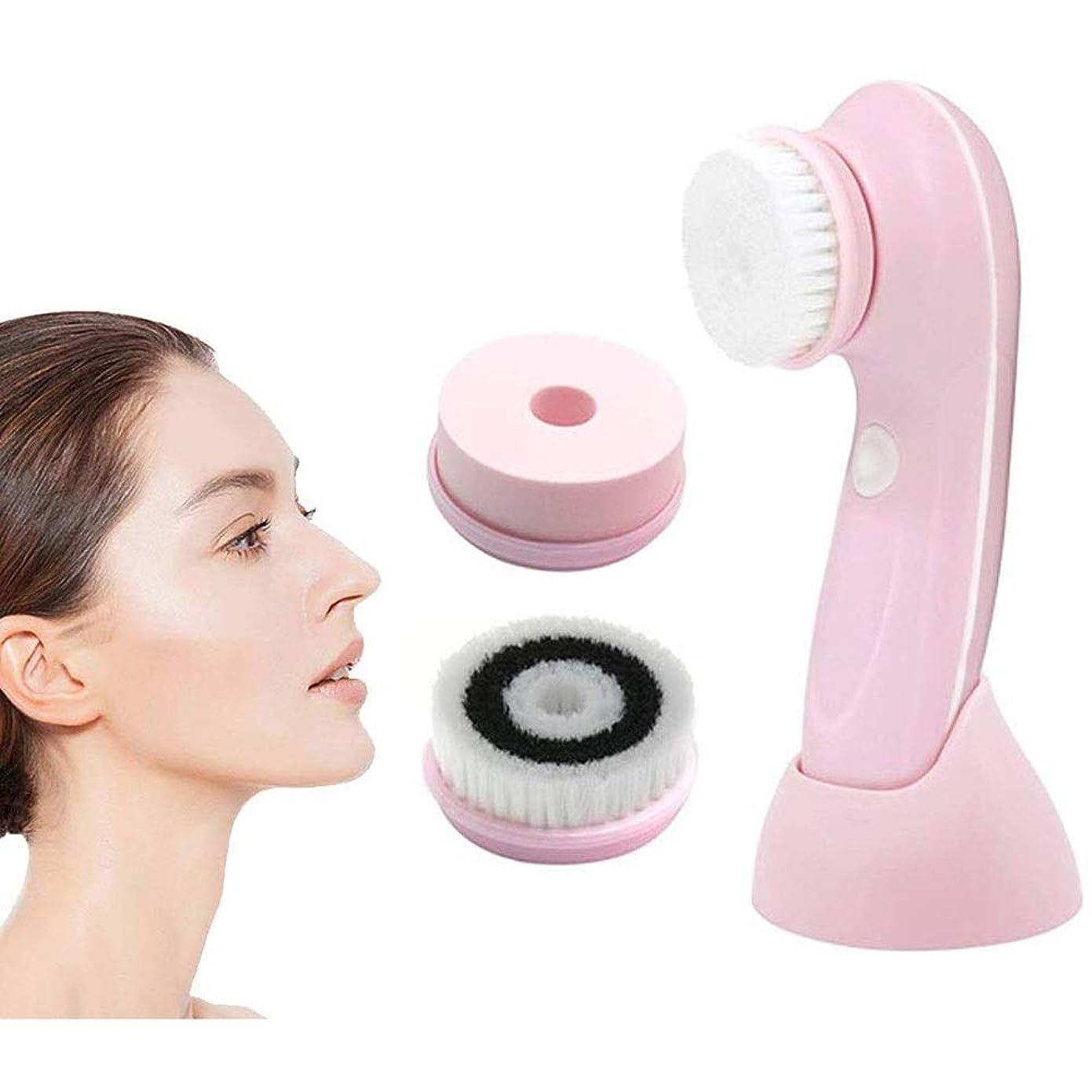 のれんワゴンアラビア語KJRJCD 洗顔ブラシ、3つの交換用ヘッドとエクスフォリエイティング、ブラックヘッド、ポータブル顔スクラバー用USB充電式プロフェッショナル洗顔ブラシ、ピンクスピニング